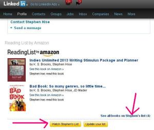 LinkedIn Book List on Profile