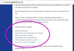 Blogger LinkUp Request