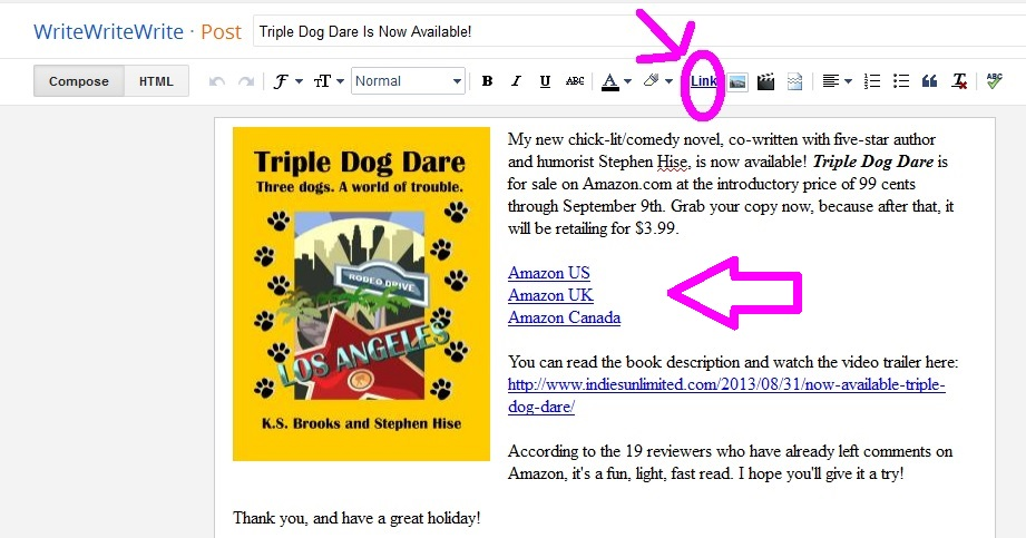 A screen capture from Blogger/Blogspot
