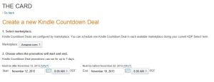 Kindle Countdown Deal Dates set up