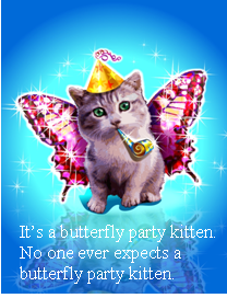 Butterfly party kitten