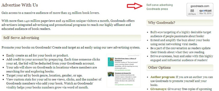 goodreads advertise with us
