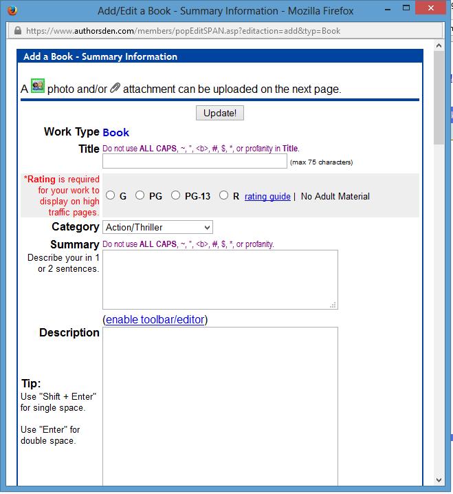 authors den upload a book screen