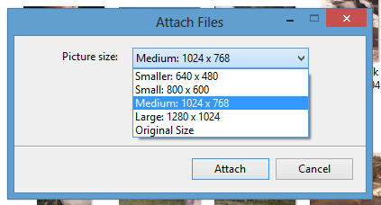 resize an image using outlook 3