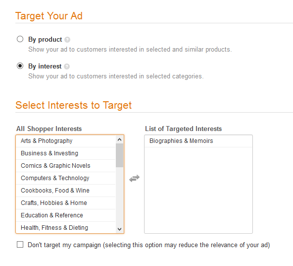 Amazon target your ad by interest