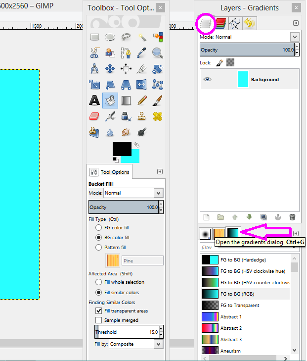 GIMP gradient mode