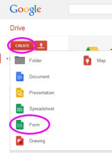 GoogleDrive create form