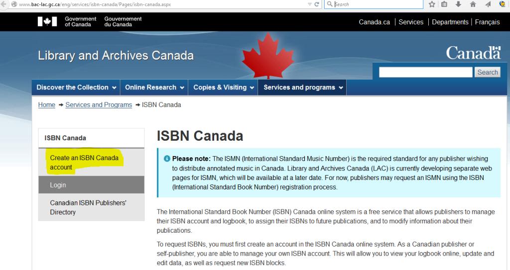 ISBN Canada create an account