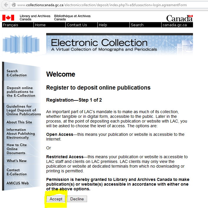 Library of Canada accept terms