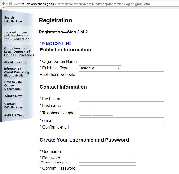 LoC Registration screen