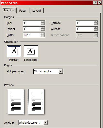 format paperback margins