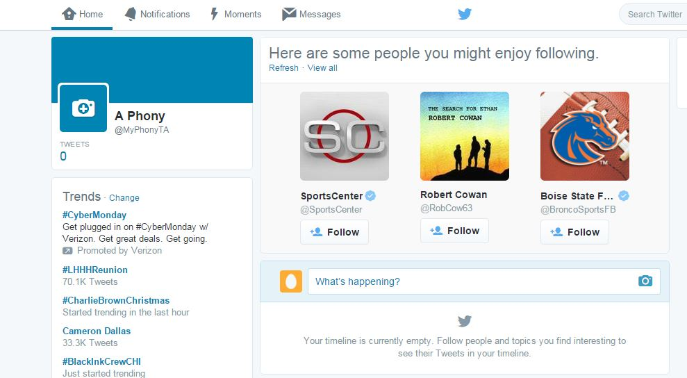 Twitter Initial Page