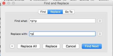 authors can find and replace special characters ^p