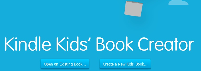 Kindle Kids' Book Creator opening screen