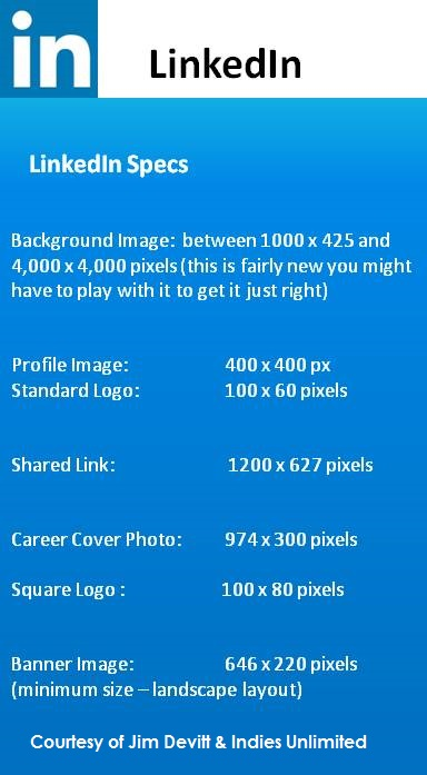 LinkedIn specs 2016 from Indies Unlimited