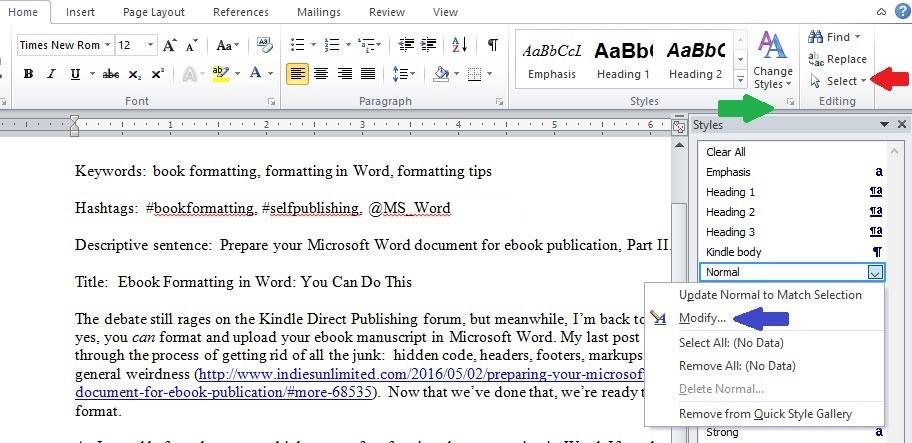 Word 1 ebook formatting styles
