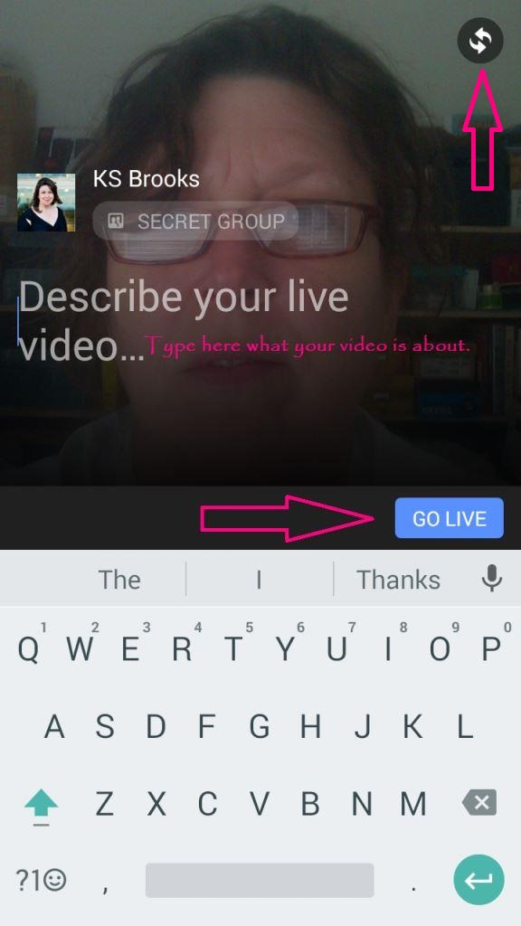 facebook live screen shot go live