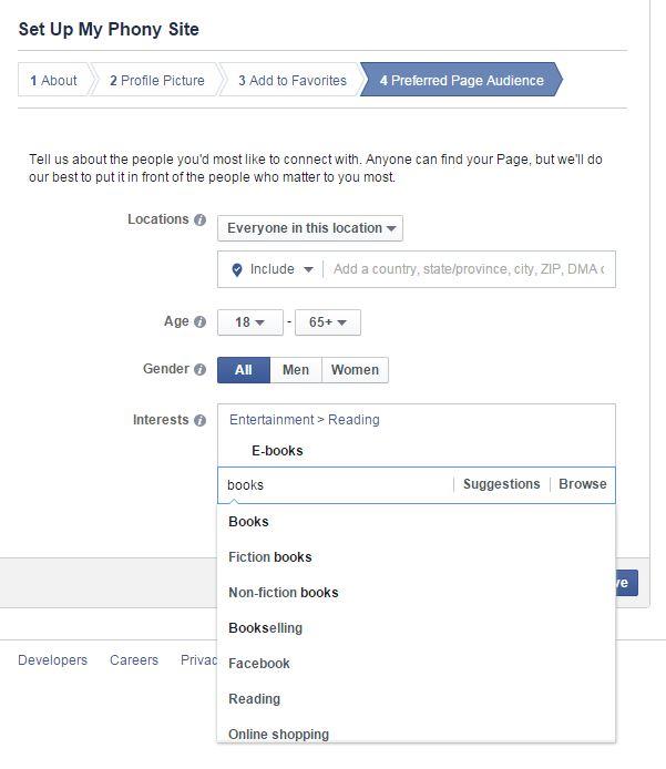 Facebook pageinterests