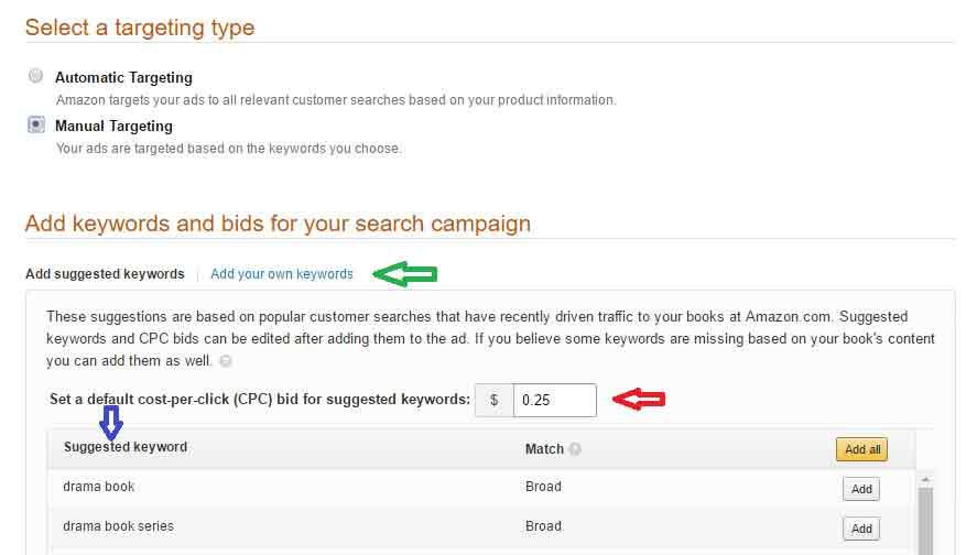 Amazon Marketing Services Sponsored-set-up-3-adding-k