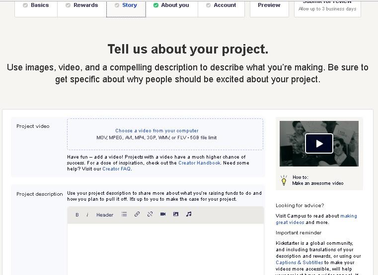 Kickstarter screen 4 - Story