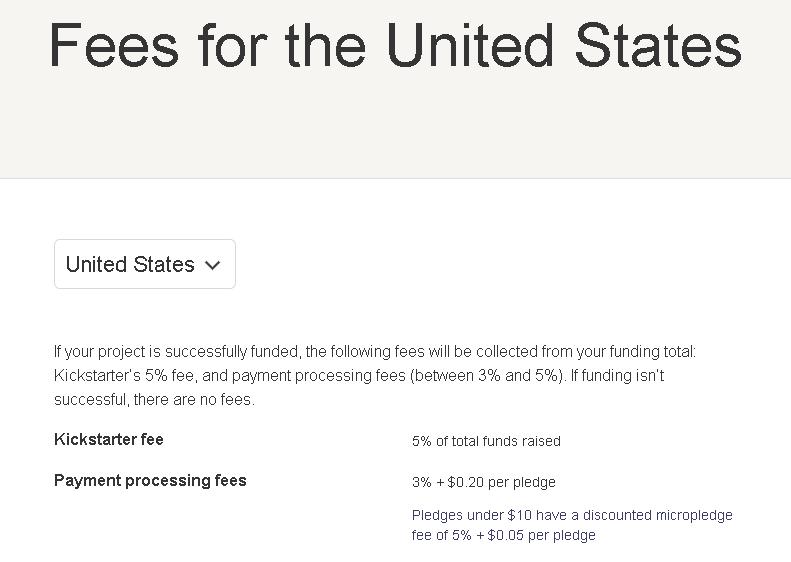 kickstarter project fees