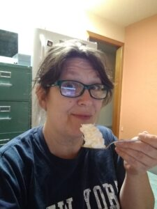 IU Exec Director KS Brooks eats too much whipped cream