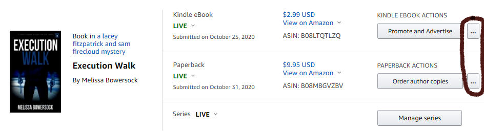 submitting updates to your book series on Amazon