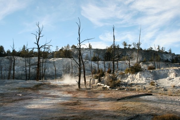 Mammoth hot springs yellowstone flash fiction writing prompt